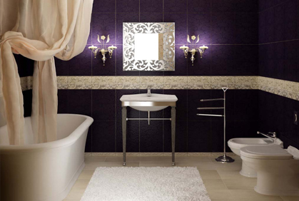Cheap and inexpensive bathroom decorations bath decor with large purple wall tiles
