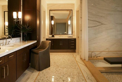 Simple and easy bathroom decorations bath decor with dark espresso wood contemporary designed vanity cabinets and small tiled floor