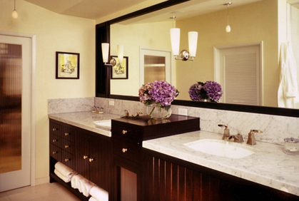 Most popular 2015 bathroom design themes and decorating ideas with dark vanity cabinets and double sink