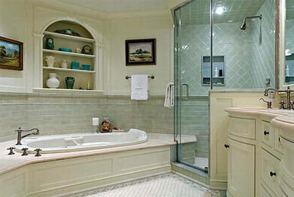 Online pictures of bathroom design themes and decorating ideas french country style with large shower enclosure and wall tiles