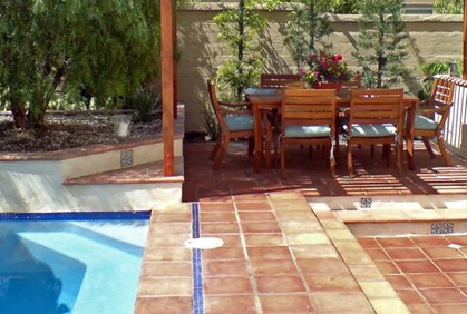 Most popular 2015 backyard makeover ideas landscape designs landscaping plans pool patio table large stone paver flooring
