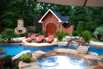 Online pictures of backyard makeover ideas landscape designs landscaping plans swimmin pool patio spa pool house