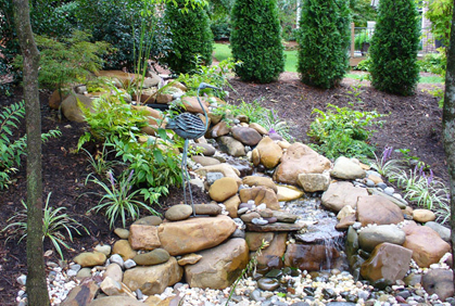 Online pictures of pictures of most popular simple landscaping design ideas waterfall water features big stones and rock tall trees