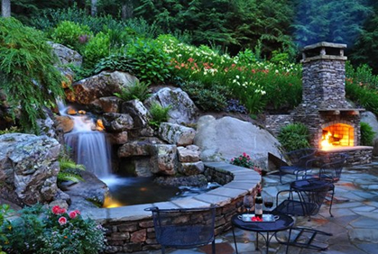 backyard waterfall ideas patio fireplace retaining wall sitting garden