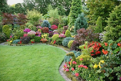 Simple Cheap Backyard Landscaping Ideas coloful trees shrubs flowers ...