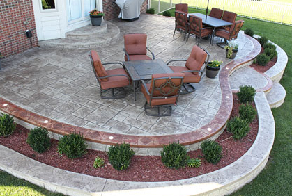 Stamped concrete patio cost ideas 2017 photos - Landscaping ideas around concrete patio ...