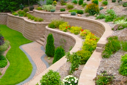 Retaining wall block ideas for diy landscape design - Small backyard landscape designs ...