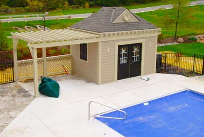 Custom pool house design plans ideas pictures for Pool house plans with bathroom
