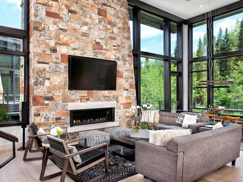 Stone Fireplace Makeover